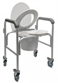 Lumex Three-In-One Aluminum Commode with Back Bar and Casters