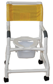 MJM Shower Chair with Deluxe Elongated Open Front Seat, Optional Square Pail, and Flared Stability Base