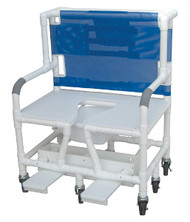 "MJM Bariatric 30"" Shower Chair with Full Support Seat, Sliding Footrest, Square Pail and Extra Casters"
