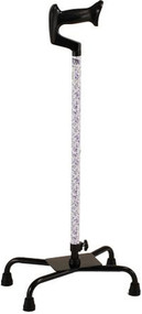 Quad Cane - Large Base - White with Blue Flowers