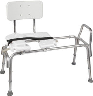DMI Heavy-Duty Sliding Transfer Bench with Cut-Out Seat and Backrest