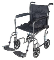 "Drive Lightweight Steel Transport Wheelchair - 19"" with Fixed Full Arms"
