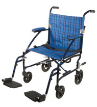 "Drive Fly Lite Ultra Lightweight Transport Wheelchair - 19"", Blue"