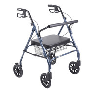 Drive Go-Lite Bariatric 4-Wheeled Rollator Walker with Large Padded Seat - Blue