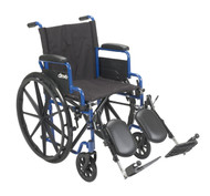 "Drive Blue Streak Manual Wheelchair - 18"" with Flip Back Desk Arms and Swing-away, Elevating Leg rests - Blue"