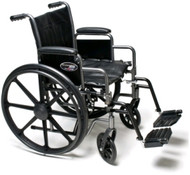 "Everest & Jennings Traveler HD Wheelchair - 22"" x 18"" with Detachable Desk Arms and Swingaway Footrests"