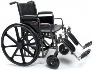 "Everest & Jennings Traveler HD Wheelchair - 22"" x 18"" with Detachable Desk Arms and Elevating Legrests"