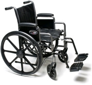 "Everest & Jennings Traveler HD Wheelchair - 24"" x 18"" with Detachable Desk Arms and Swingaway Footrests"