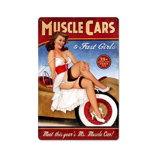 """MUSCLE  CARS""  VINTAGE METAL  SIGN"