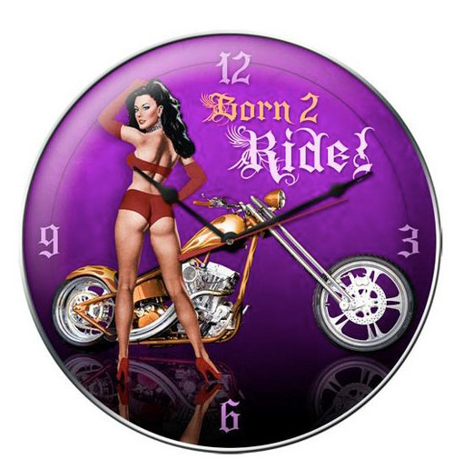 """BORN  2  RIDE "" PIN-UP CLOCK"