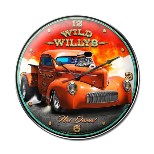 """WILD  WILLYS  HOT  ROD""  CLOCK"