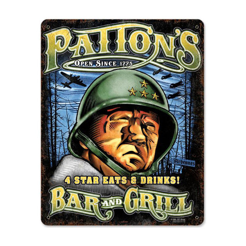 """PATTON'S  BAR  AND  GRILL""  METAL  SIGN"