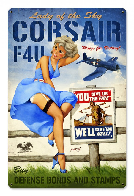 """CORSAIR  F4U""  VINTAGE METAL SIGN"