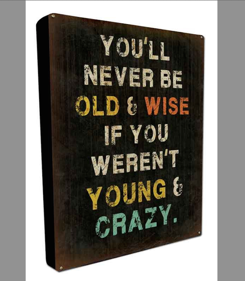 """OLD & WISE"" BOXED METAL & WOOD SIGN"