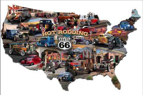 """HOT ROD ROUTE 66"" METAL MAP"