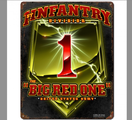 """1st INFANTRY DIVISION--BIG RED ONE""  METAL SIGN"