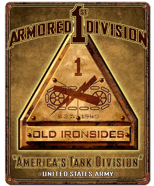 """""""1st Armored Division"""" Metal Sign"""