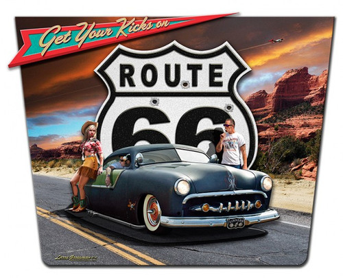 """GET YOUR KICKS ON ROUTE 66"" METAL SIGN"