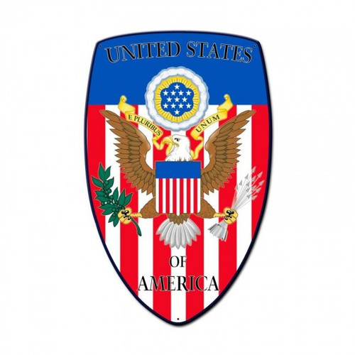 """USA SHIELD"" METAL SIGN"