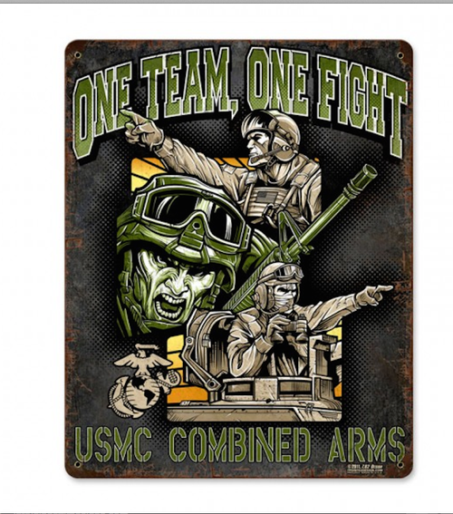 """""""ONE  TEAM  ONE  FIGHT"""" METAL  SIGN"""