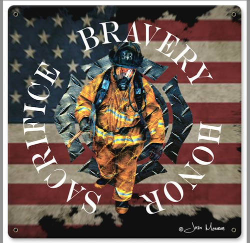 """BRAVERY, HONOR, SACRIFICE""  METAL  SIGN"