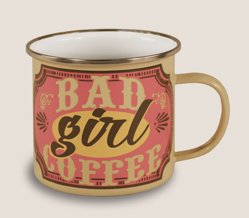 """BAD  GIRL  COFFEE""  ENAMEL MUG"