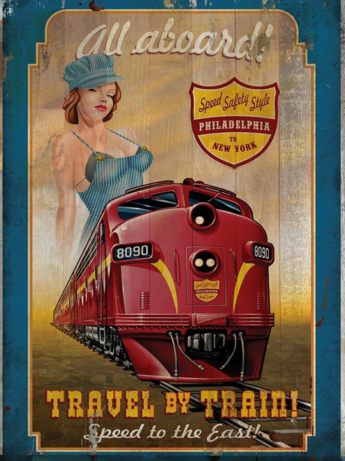 """TRAVEL BY TRAIN""  PRINTED ON WOOD"