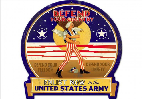 """DEFEND  YOUR  COUNTRY--U.S. ARMY""  METAL  SIGN"