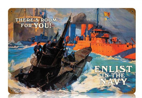 """ENLIST  IN  THE NAVY""  METAL  SIGN"