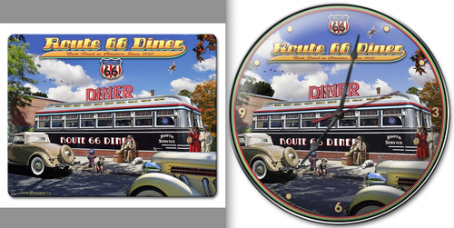 """1936  DINER  ON  ROUTE  66 "" ROUND  CLOCK"