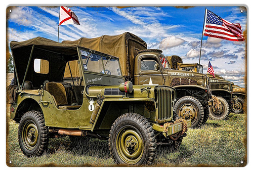 """VINTAGE  MILITARY  VEHICLES""  METAL SIGN"