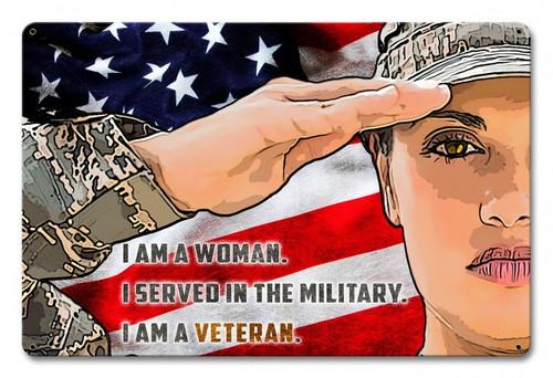 """""""FEMALE  ARMY  VETERAN""""  METAL  SIGN"""