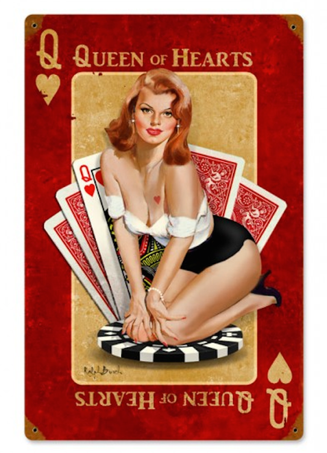 """QUEEN  OF  HEARTS""  METAL  SIGN"