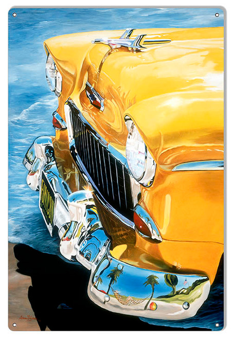 """YELLOW CHEVY  HOOD ""  METAL  SIGN"