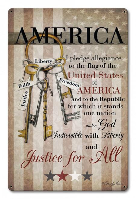 """""""America Pledge Of Allegiance""""  Metal Sign"""