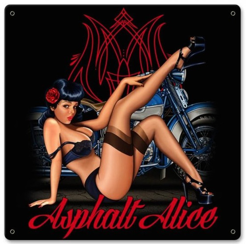 """ASPHALT  ALICE  PIN-UP  ""  METAL  SIGN"