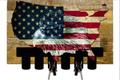 """WOODEN & METAL  U.S. STARS & STRIPES MAP WITH EAGLE""  KEY  HANGER"