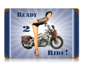 """NAVY  READY  TO  RIDE""  METAL  SIGN"