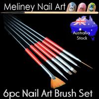 6pc Nail art brush set red
