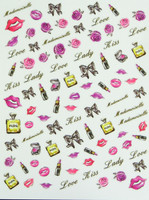 flower lipstick perfume bow nail stickers