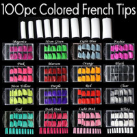 100pc Coloured French Tips