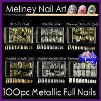 100pc metallic mid length full cover nails