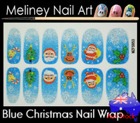 blue santa Christmas nail wrap