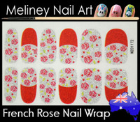 Glitter Nail Wrap - French Rose