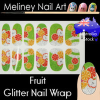 fruits glitter nail wraps