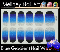 gradient blue nail wrap