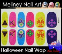 halloween blue nail wrap
