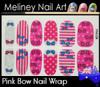 pink bow nail wrap
