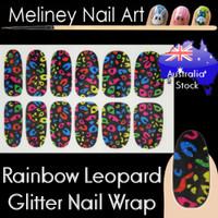 Rainbow Leopard nail wraps sticker