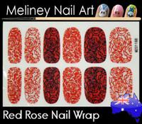 red rose nail wrap